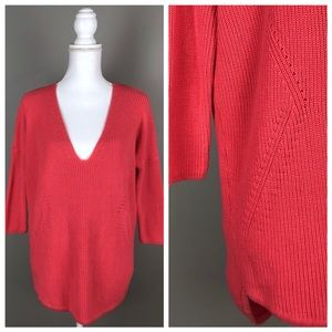 EUC {Express} Over-sized Deep V-neck Sweater Coral